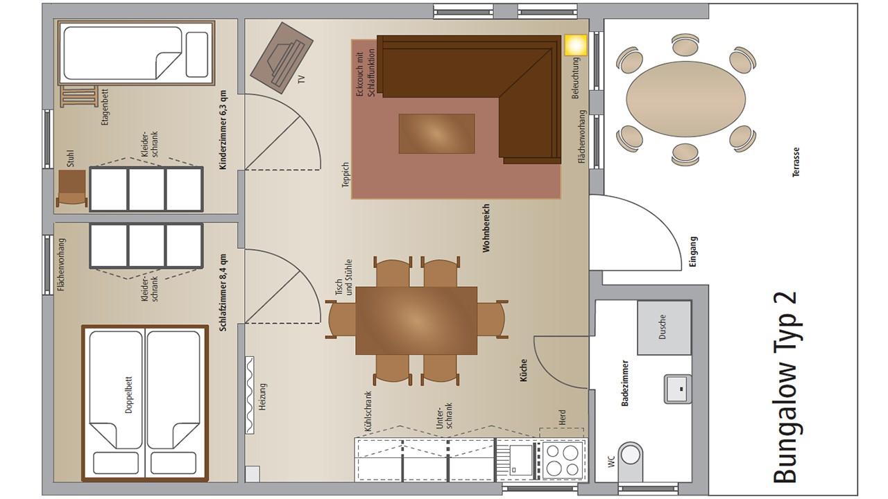 Grundriss vom Bungalow Typ2 aus dem Waldbad Templin