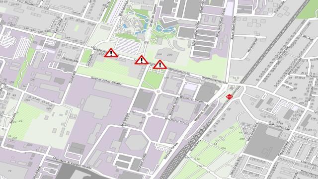 Kartenauschnitt mit Bauabshnitten vom Fernwärmeausbau in der Großbeerenstraße