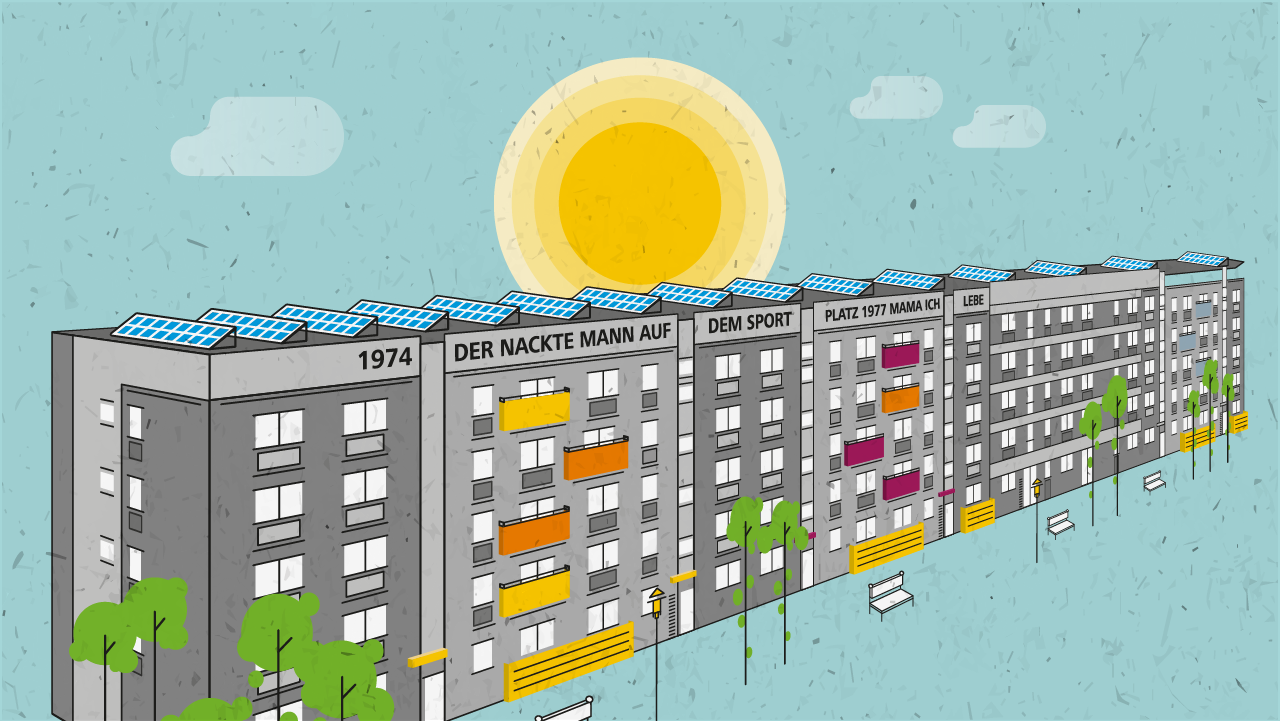 Illustration Wohngebäude Gartenstadt Drewitz mit Solaranlage auf dem Dach