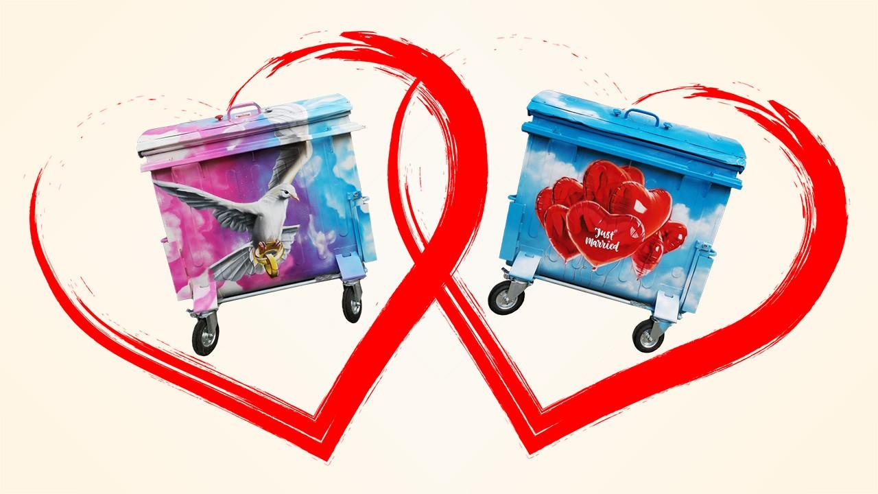 STEP Polter- und Hochzeitscontainer mit Tauben- und Herzenmotiv