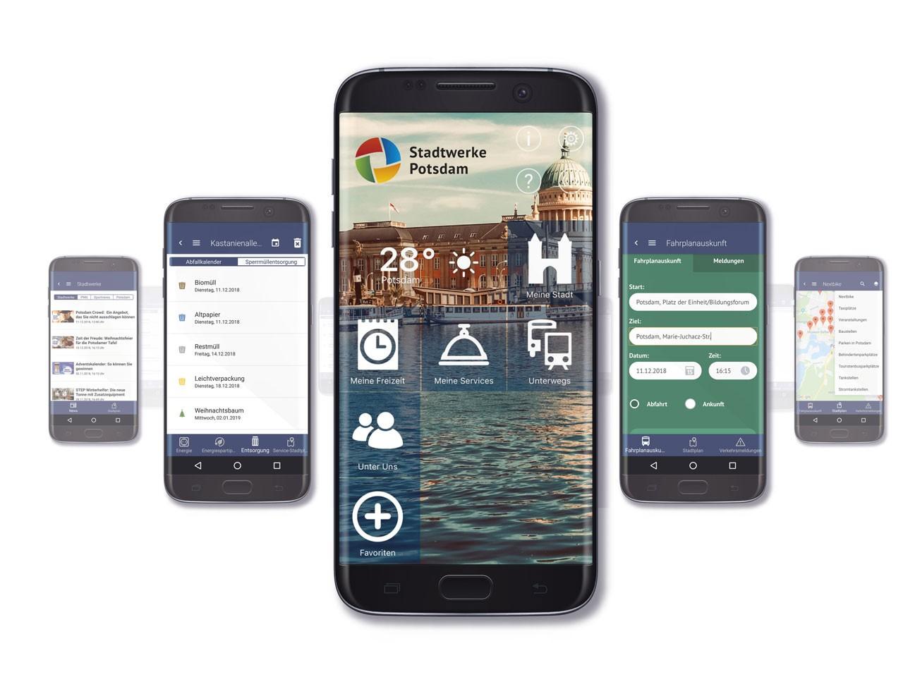 Vorschau der Echt Potsdam App auf dem Smartphone