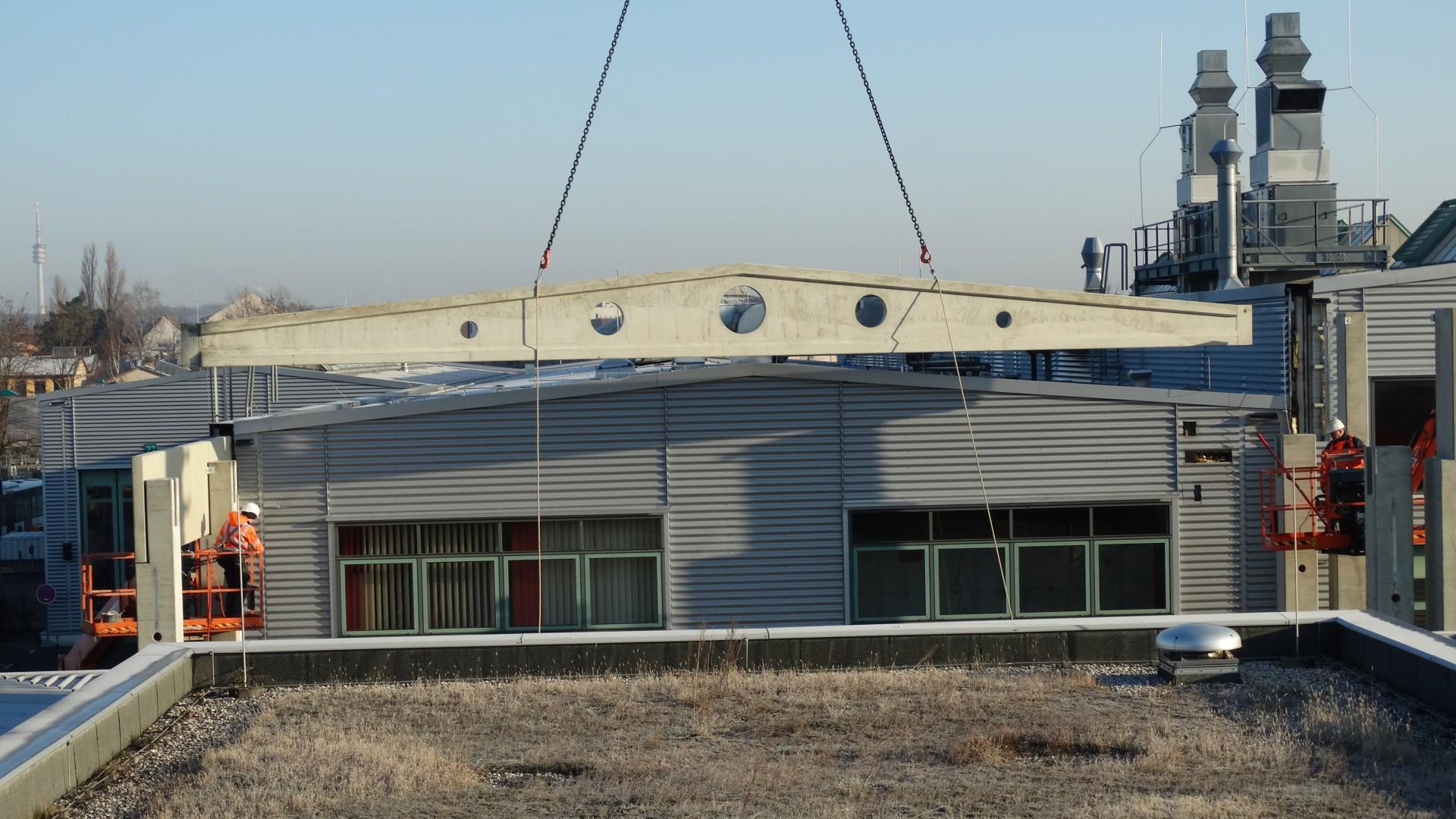 Dachbinder werden per Kran auf die entsprechenden Stützen gehoben , © ViP