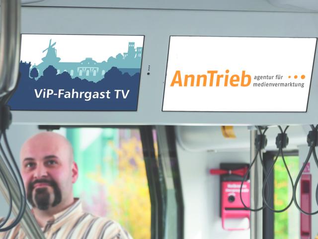Fahrgast TV in Bussen und Bahnen, Bildschirme, © AnnTrieb