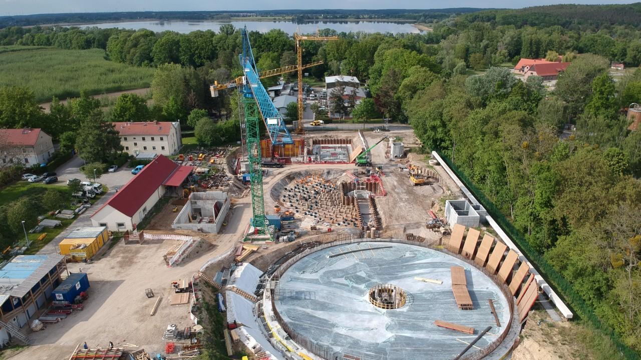 Luftaunahme vom Ausbau der Kläranlage Potsdam Nord